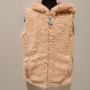 Mini Boden Faux Fur Tan Hooded Vest